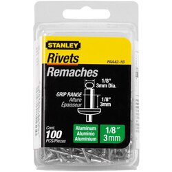 Stanley Tools - 100 pk 18 in x 18 in Aluminum Rivets - PAA42-1B