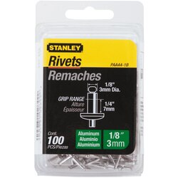 Stanley Tools - 100 pk 18 in x 14 in Aluminum Rivets - PAA44-1B