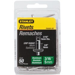 Stanley Tools - 50 pk 316 in x 38 in Aluminum Rivets - PAA66-5B