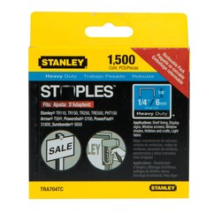 Stanley Tools - 1500 pc 14 in Heavy Duty Staples - TRA704TCS
