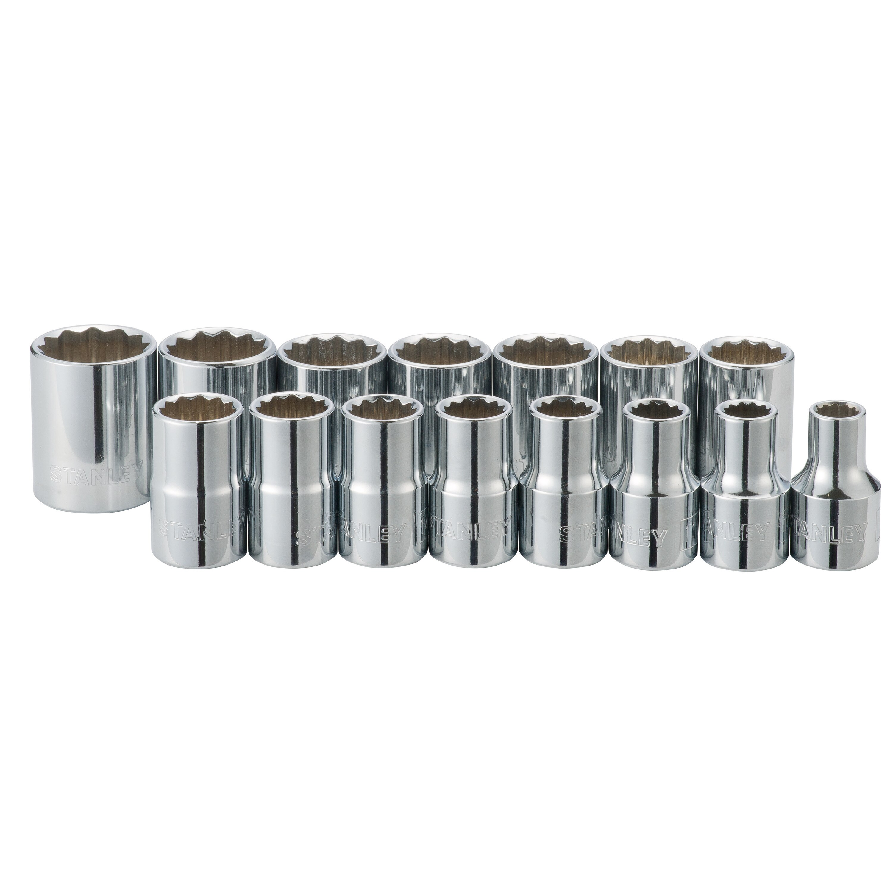 Stanley Tools - 15 pc 12 in Drive Standard Socket Set - 89-339