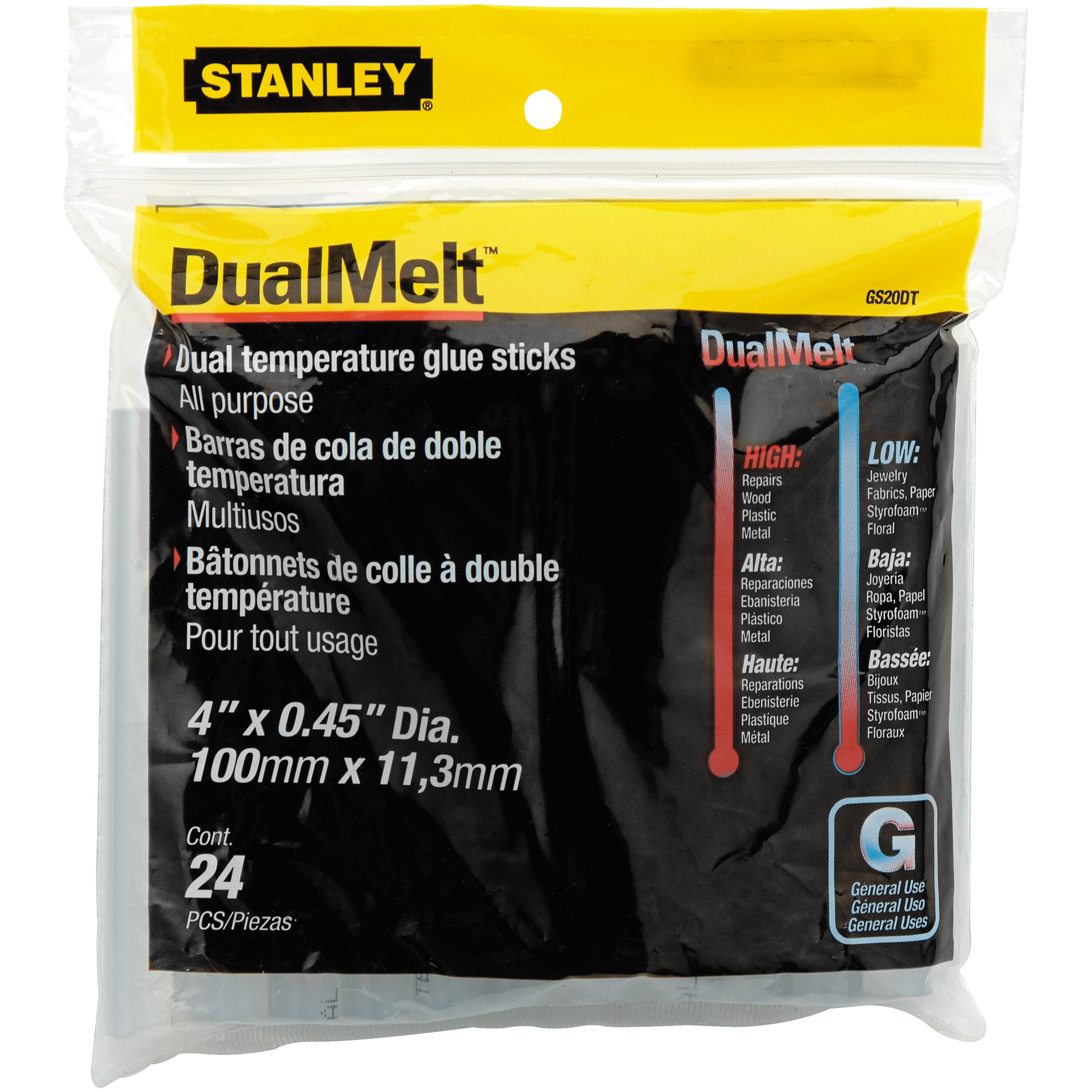 Stanley Tools - 24 pk 716 in x 4 in Dual Temperature Glue Sticks - GS20DT
