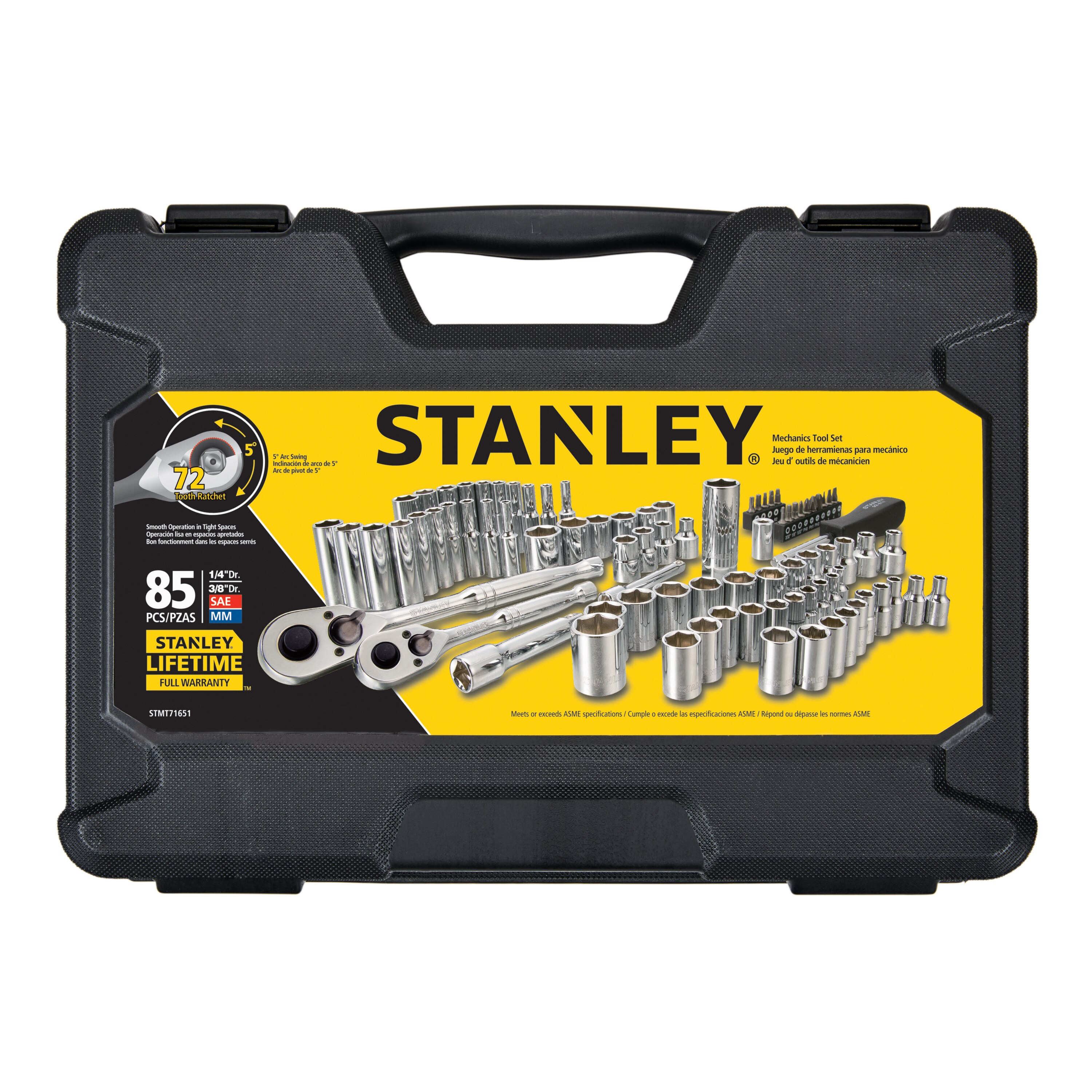 Stanley Tools - 85 pc 14 in  38 in Drive Mechanics Tool Set - STMT71651