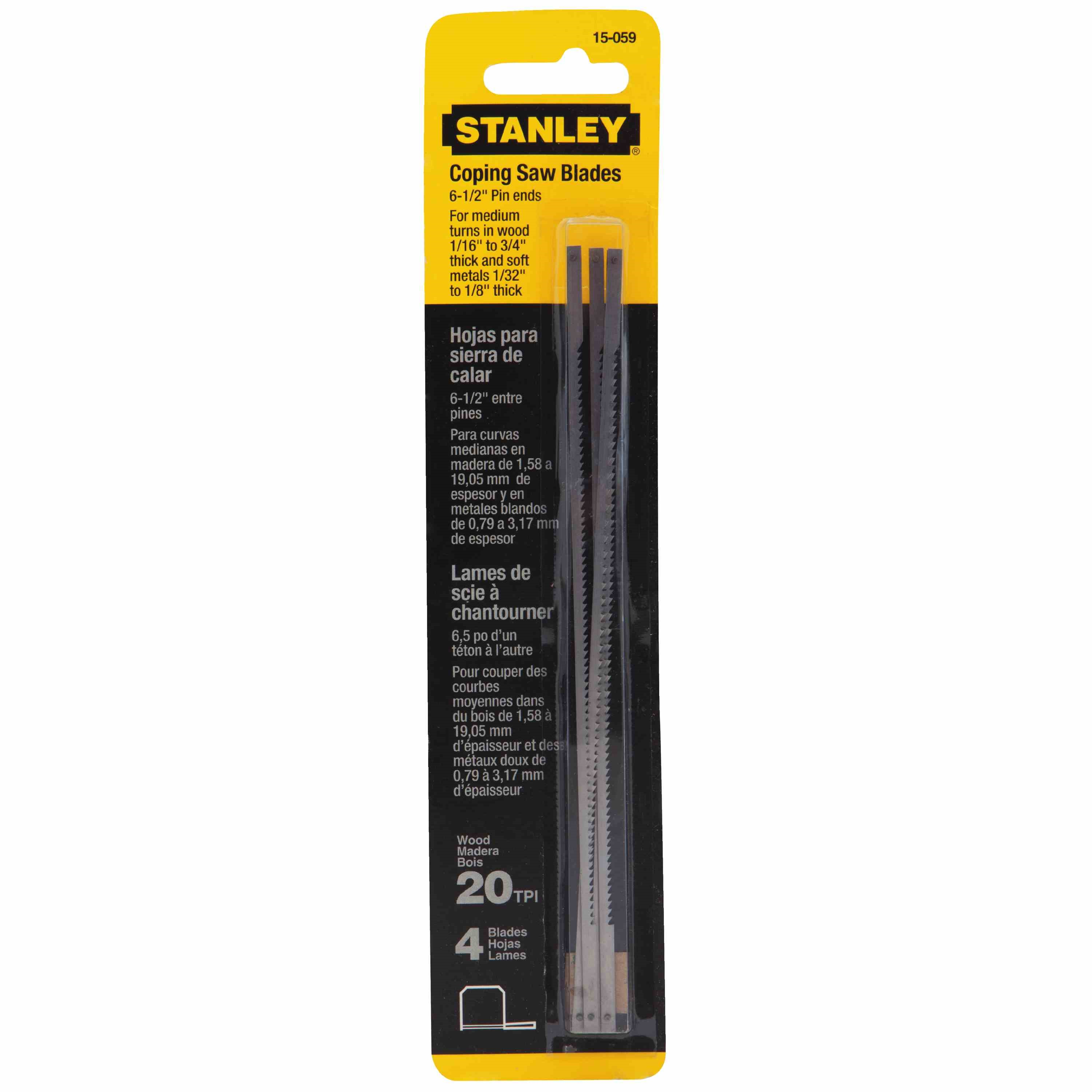 Stanley Tools - 4 pk 612 in x 20 TPI Coping Saw Blades - 15-059