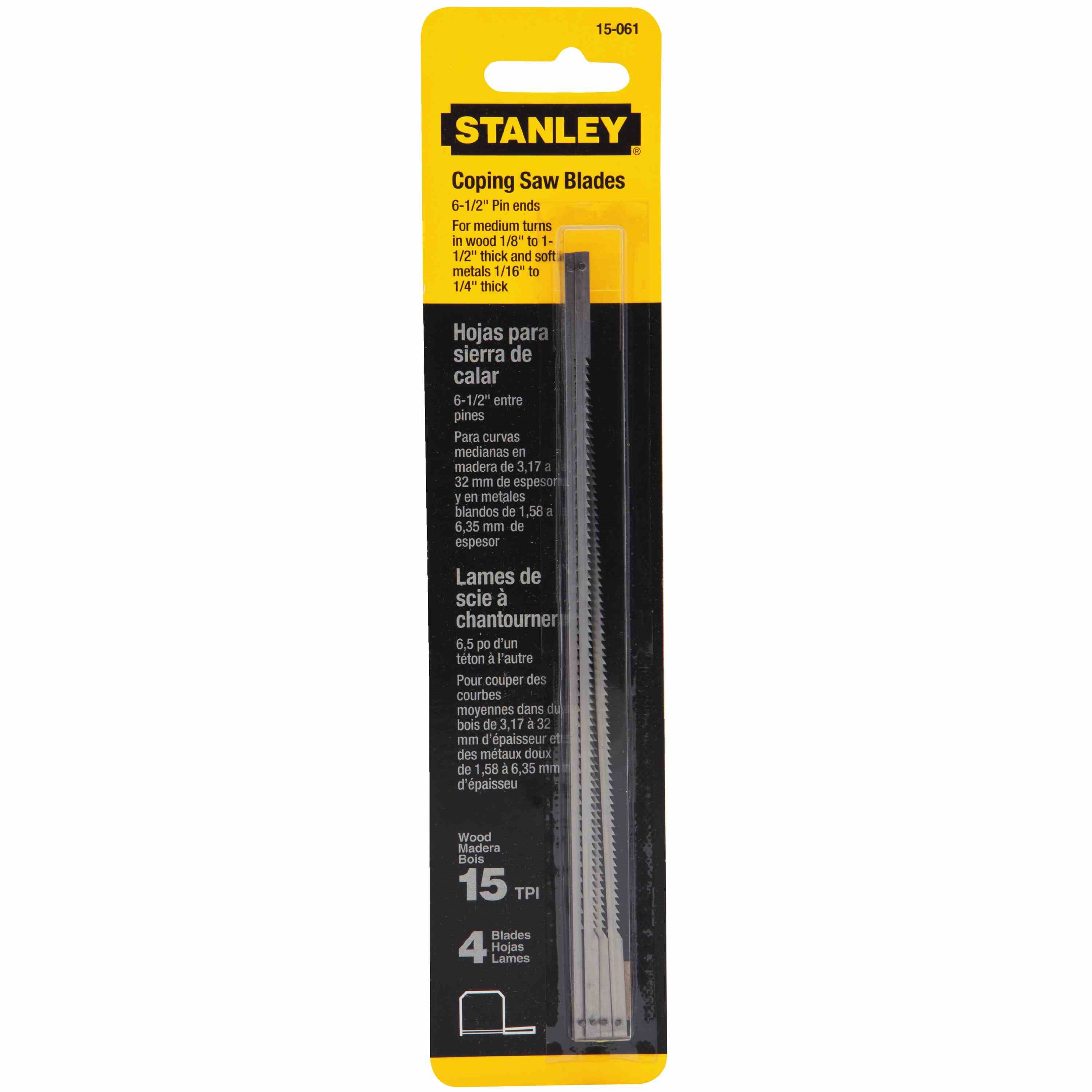 Stanley Tools - 4 pk 612 in x 15 TPI Coping Saw Blades - 15-061