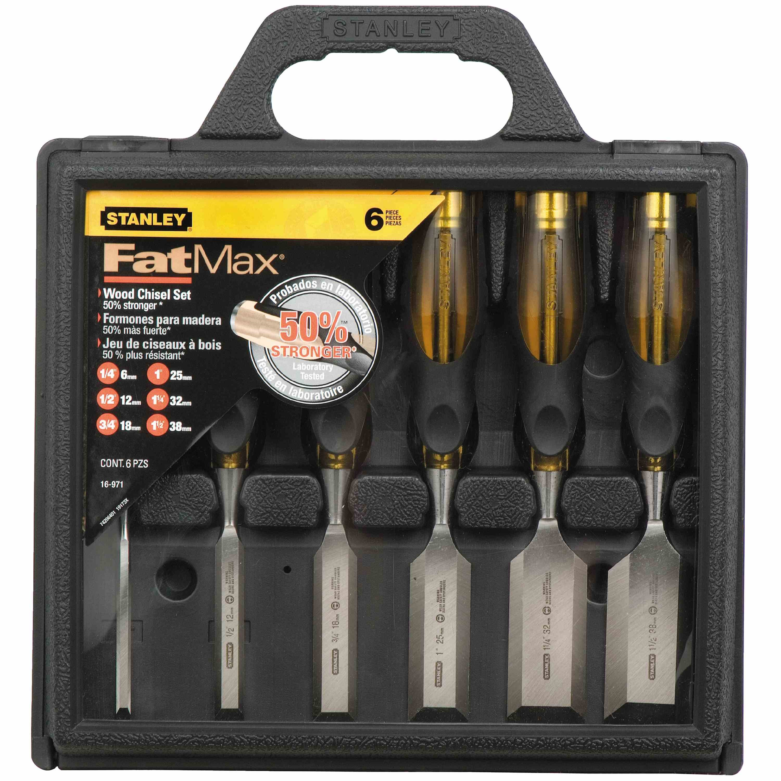 Stanley Tools - 6 pc FATMAX ThruTang Wood Chisel Set - 16-971