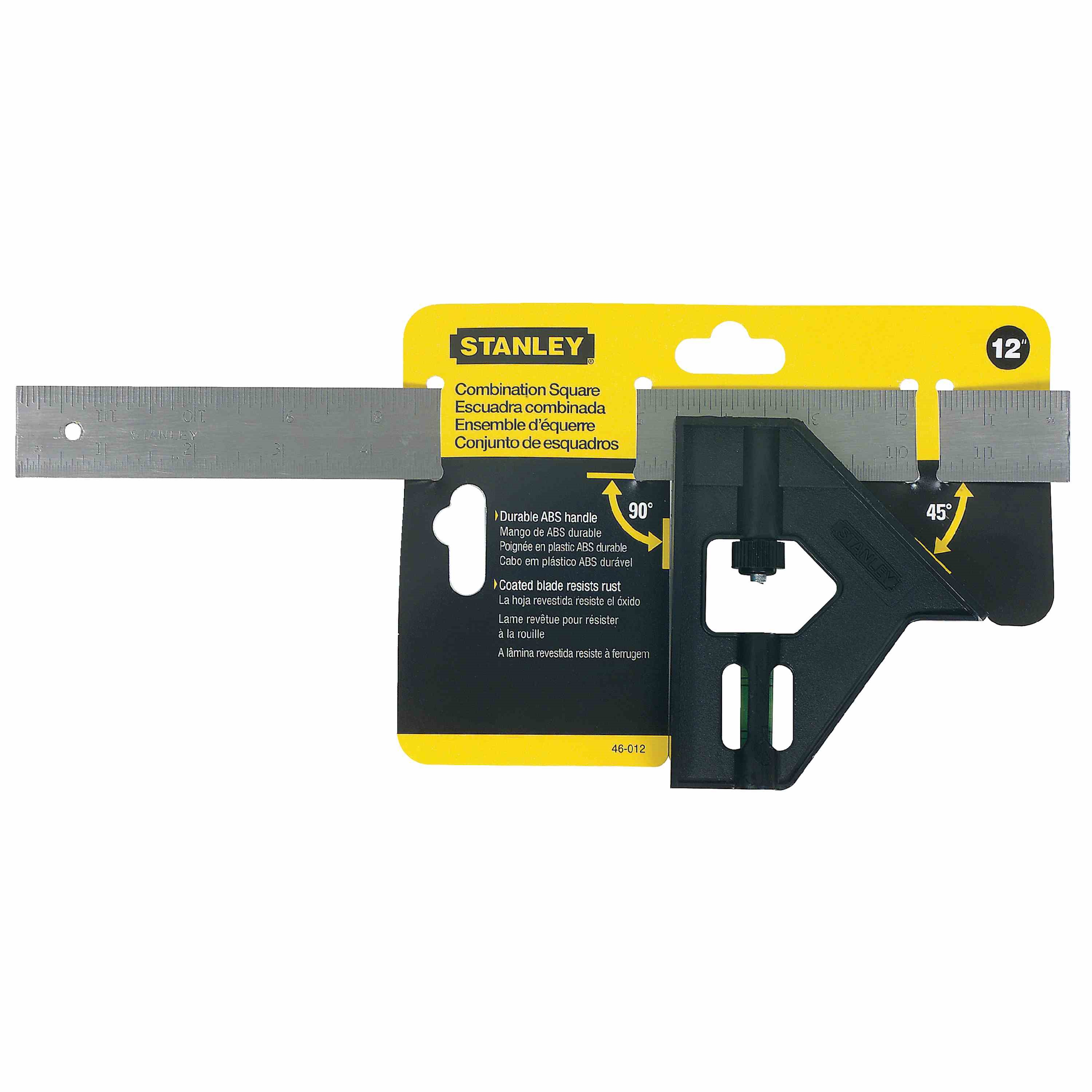 Stanley Tools - 12 in Plastic Handle English Combination Square - 46-012
