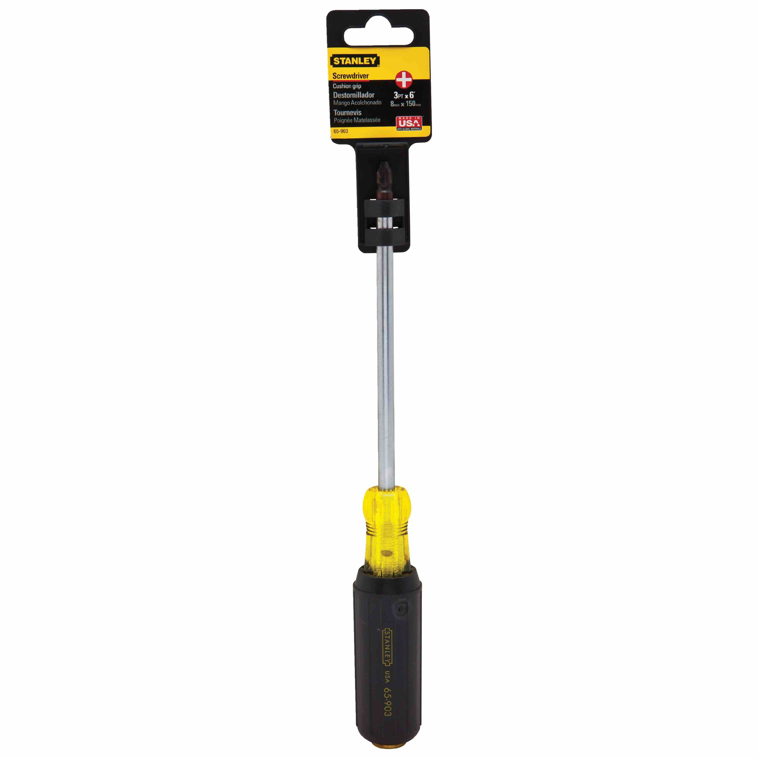 Stanley Tools - 3 pt x 6 in Vinyl Grip Phillips Screwdriver - 65-903
