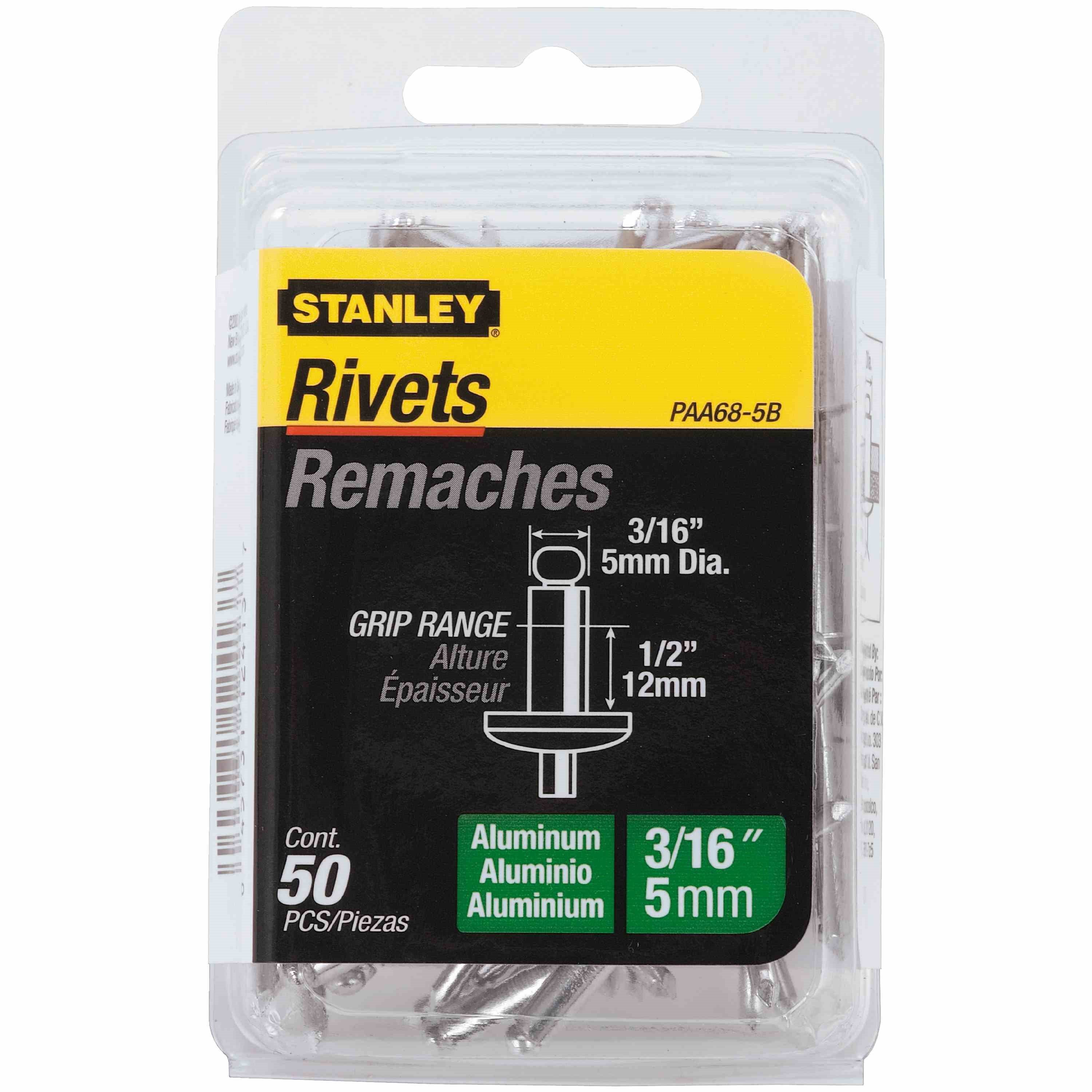 Stanley Tools - 50 pk 316 in x 12 in Aluminum Rivets - PAA68-5B