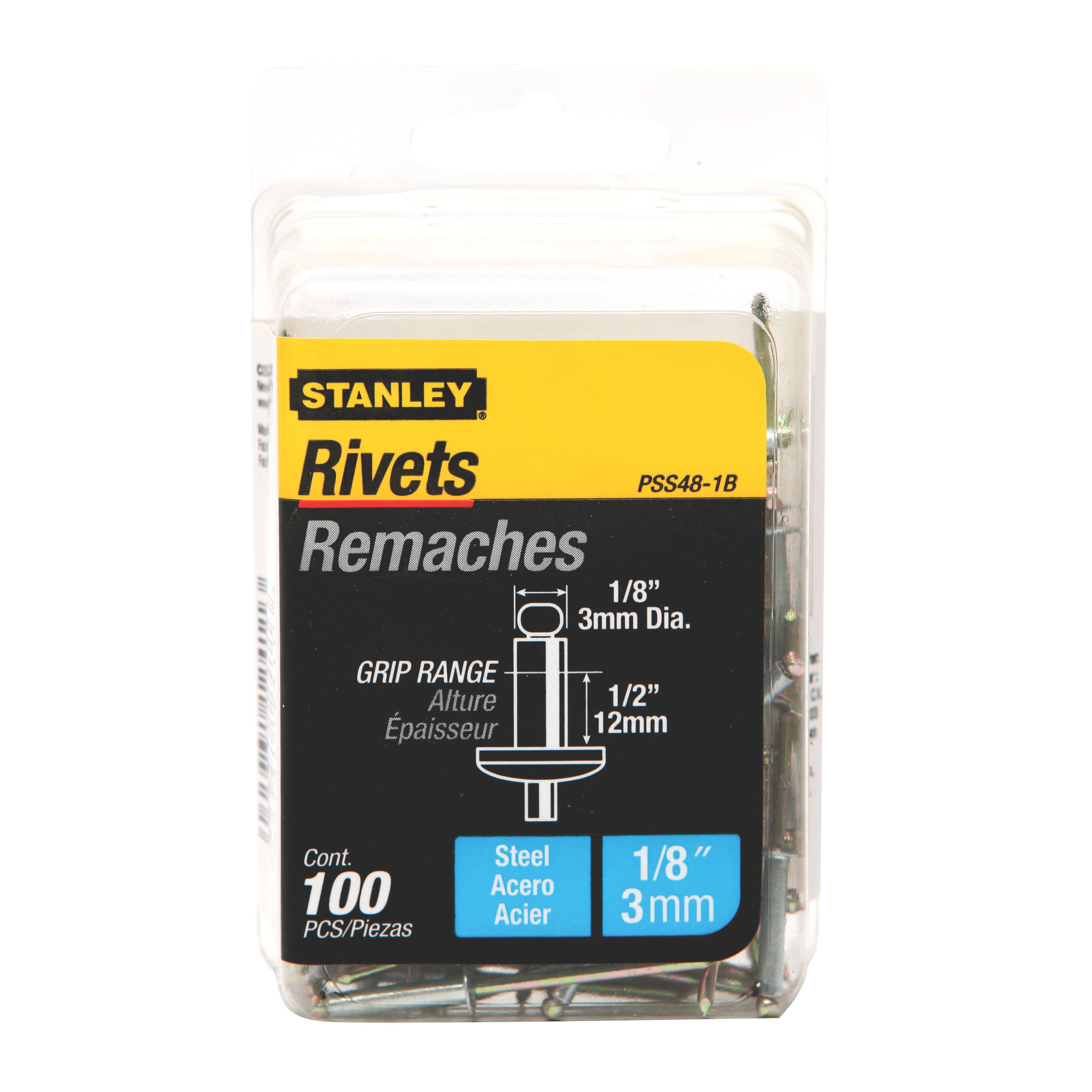Stanley Tools - 100 pk 18 in x 12 in Steel Rivets - PSS48-1B