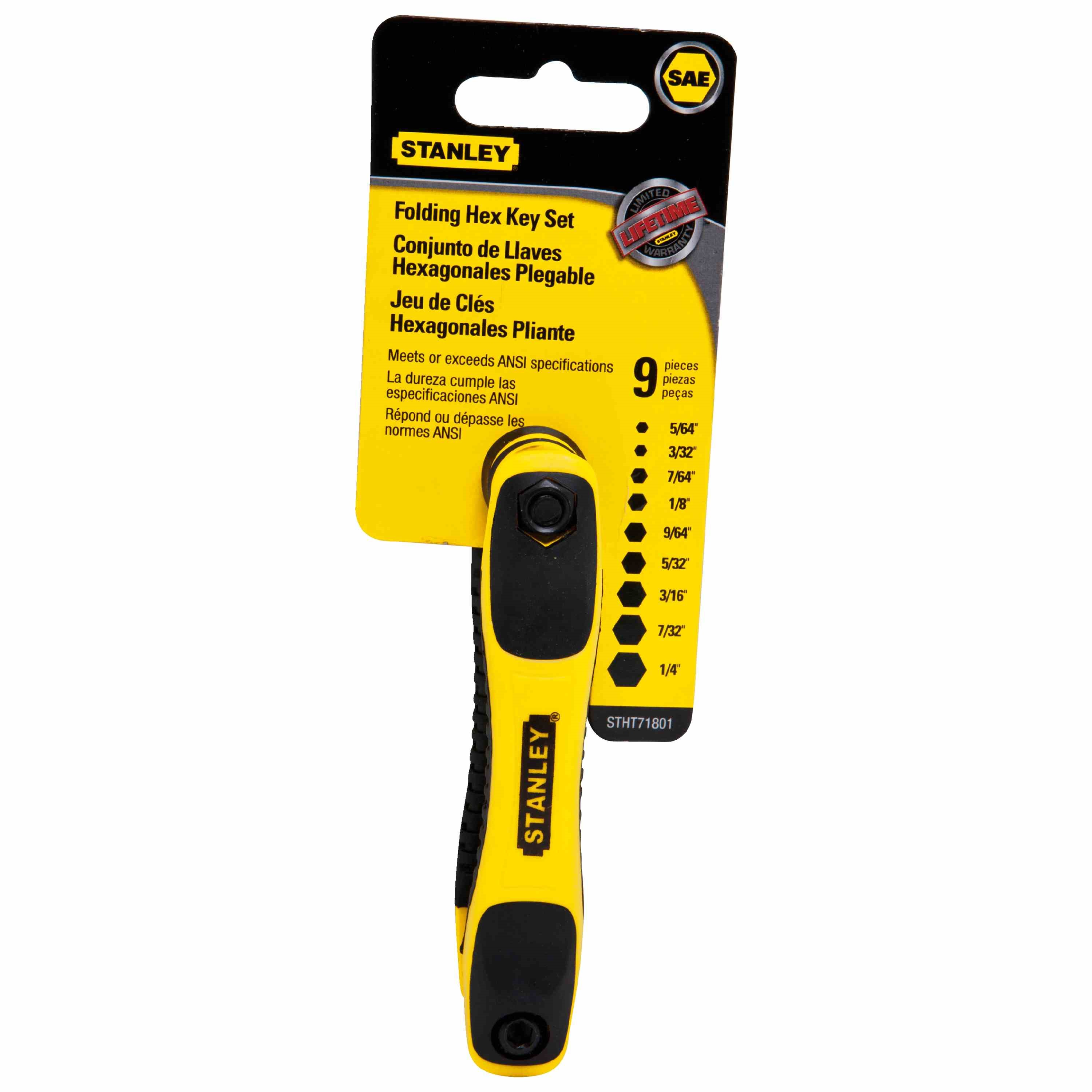 Stanley Tools - 9 pc Folding Hex Key Set - STHT71801