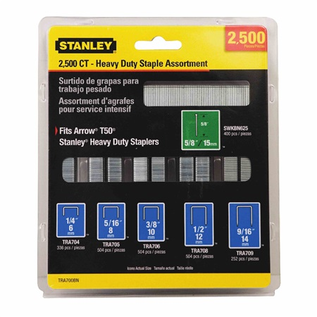Stanley Tools - 2500 pc Heavy Duty Staple and Brad Assortments - TRA700BN