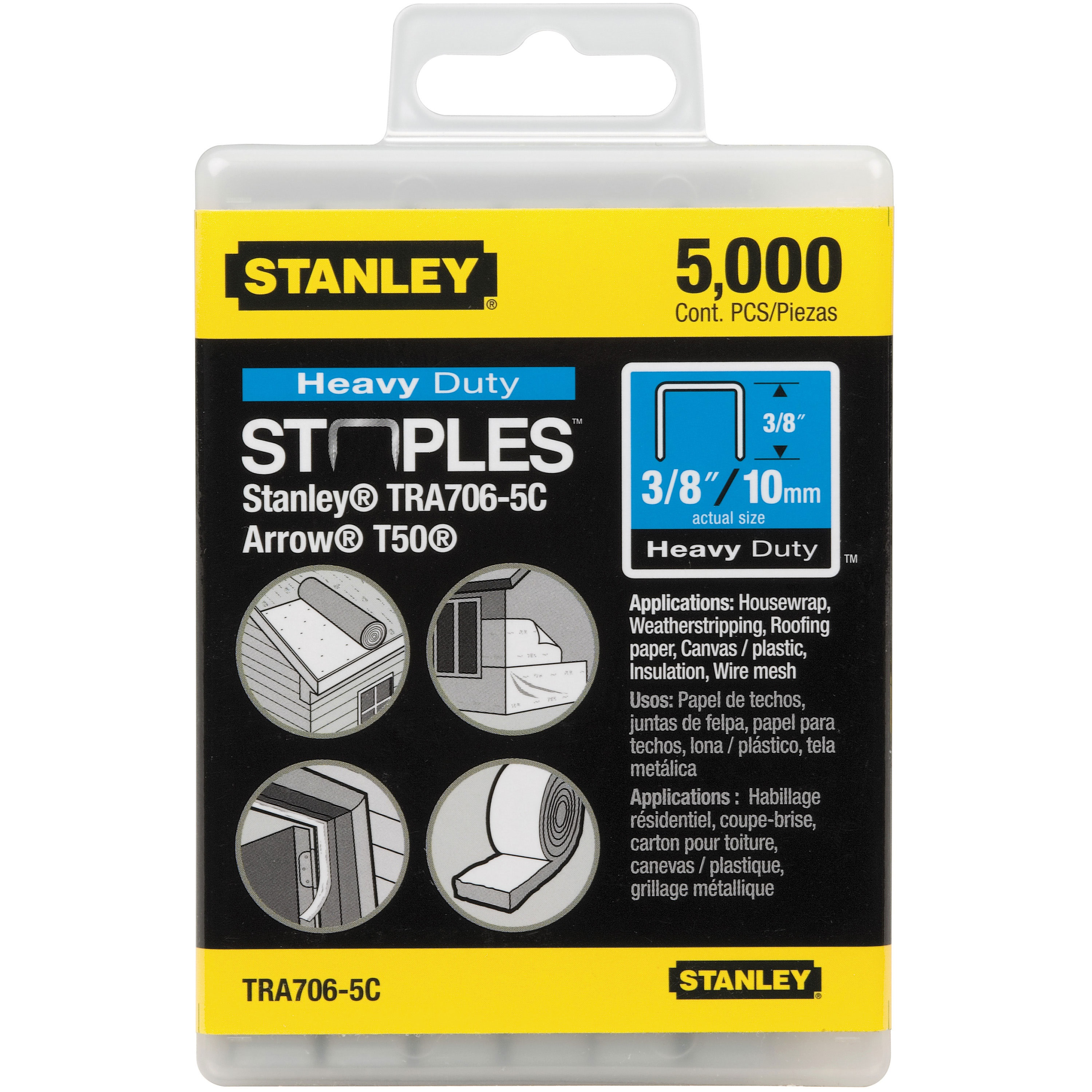 Stanley Tools - 5000 pc 38 in Heavy Duty Staples - TRA706-5C