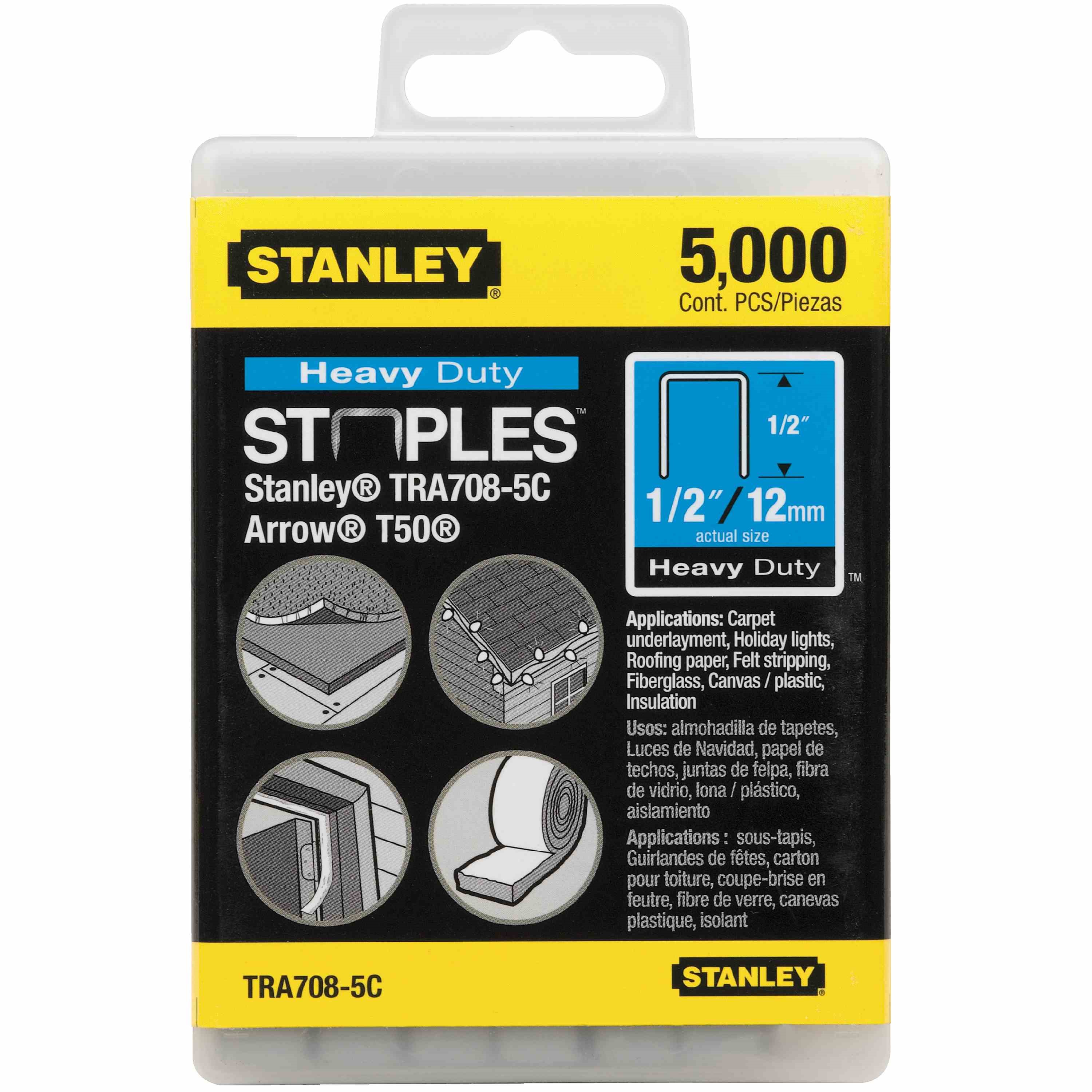 Stanley Tools - 5000 pc 12 in Heavy Duty Staples - TRA708-5C